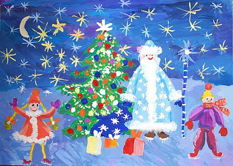 Рисунки на новогоднюю тематику: что можно нарисовать на Новый год risunki na novogodnyuyu temu 107