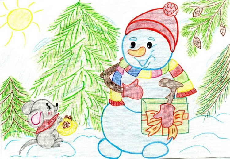 Рисунки на новогоднюю тематику: что можно нарисовать на Новый год risunki na novogodnyuyu temu 61