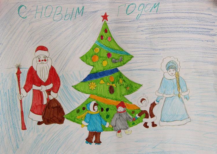 Рисунки на новогоднюю тематику: что можно нарисовать на Новый год risunki na novogodnyuyu temu 63