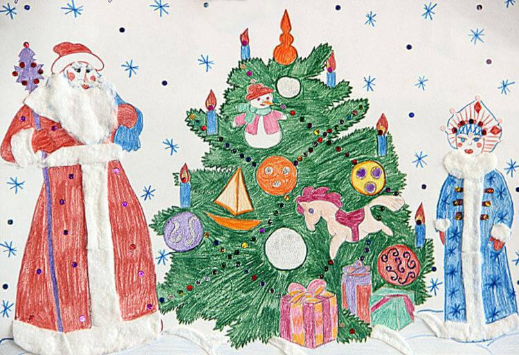 Рисунки на новогоднюю тематику: что можно нарисовать на Новый год risunki na novogodnyuyu temu 64