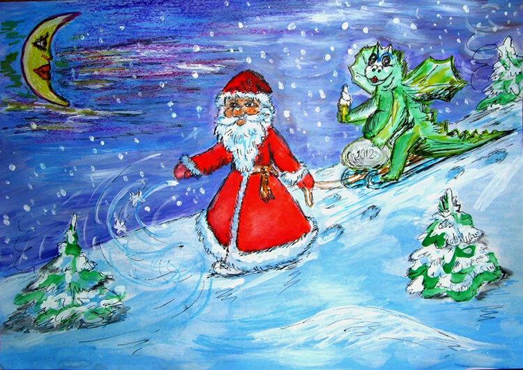 Рисунки на новогоднюю тематику: что можно нарисовать на Новый год risunki na novogodnyuyu temu 83