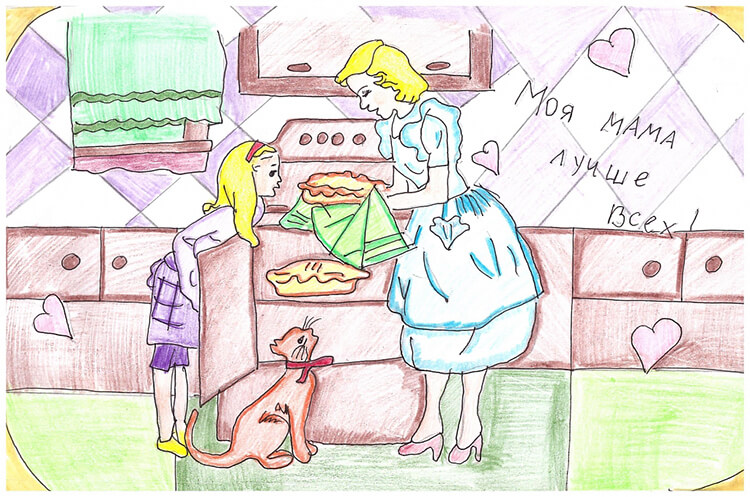 Детские рисунки на день матери: выражаем свою любовь к маме на бумаге risunok na den materi 72