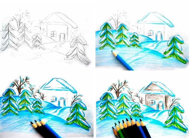 Рисунки на тему зима: что можно нарисовать красками и карандашом 92 95