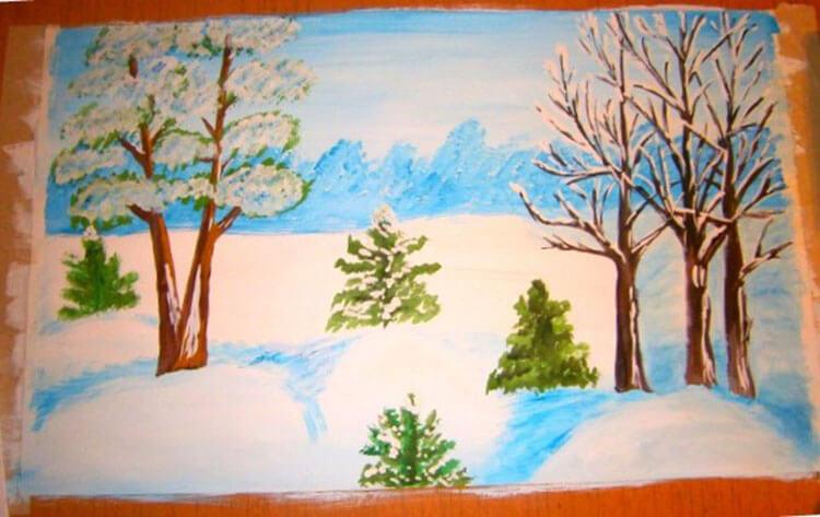 Рисунки на тему зима: что можно нарисовать красками и карандашом risunki na temu zima detskie 100