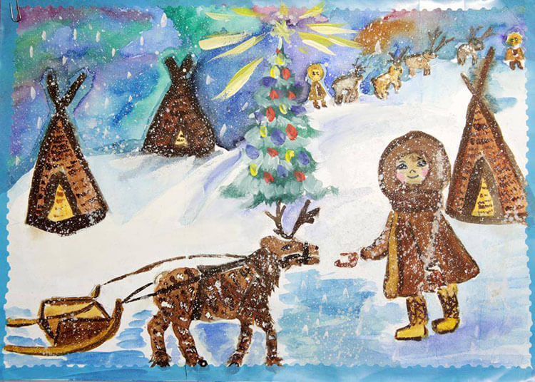 Рисунки на тему зима: что можно нарисовать красками и карандашом risunki na temu zima detskie 102