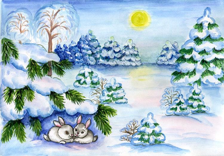 Рисунки на тему зима: что можно нарисовать красками и карандашом risunki na temu zima detskie 103