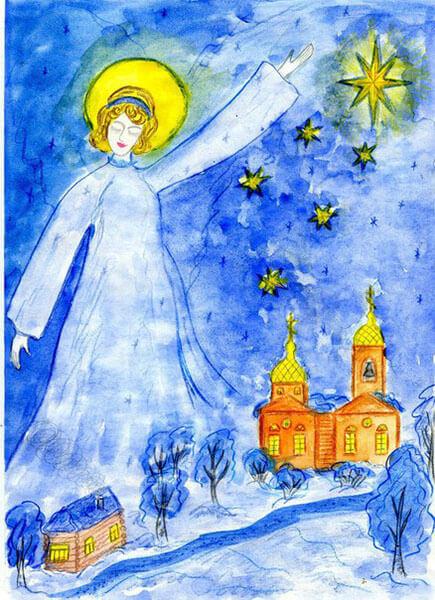 Рисунки на тему зима: что можно нарисовать красками и карандашом risunki na temu zima detskie 104