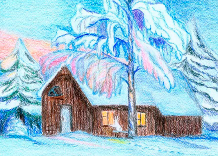 Рисунки на тему зима: что можно нарисовать красками и карандашом risunki na temu zima detskie 105