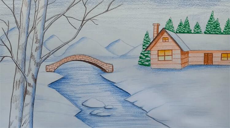 Рисунки на тему зима: что можно нарисовать красками и карандашом risunki na temu zima detskie 106