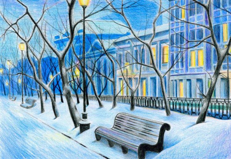 Рисунки на тему зима: что можно нарисовать красками и карандашом risunki na temu zima detskie 107