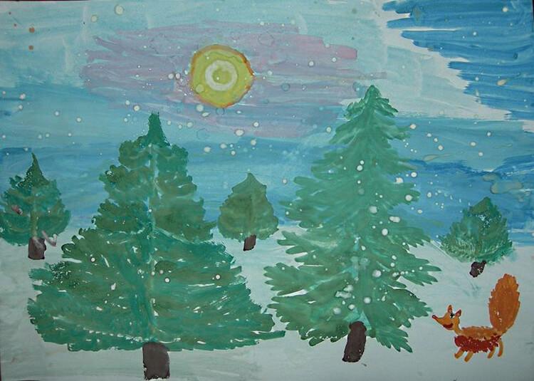 Рисунки на тему зима: что можно нарисовать красками и карандашом risunki na temu zima detskie 11 1