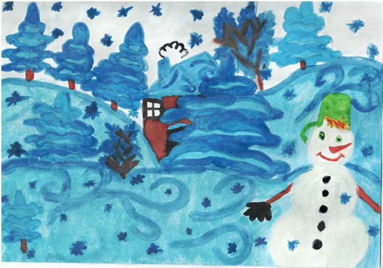 Рисунки на тему зима: что можно нарисовать красками и карандашом risunki na temu zima detskie 11 3