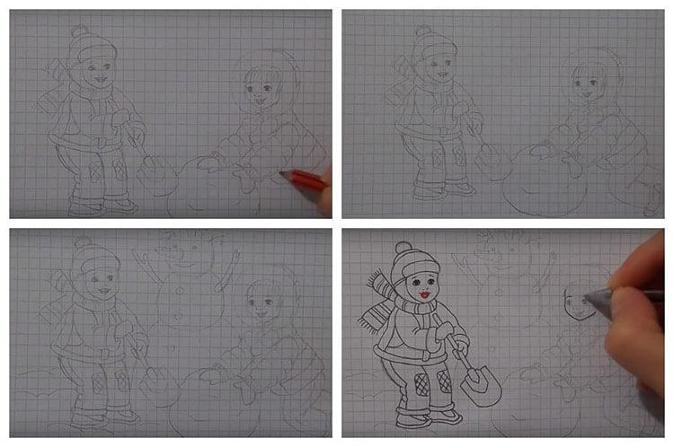 Рисунки на тему зима: что можно нарисовать красками и карандашом risunki na temu zima detskie 110