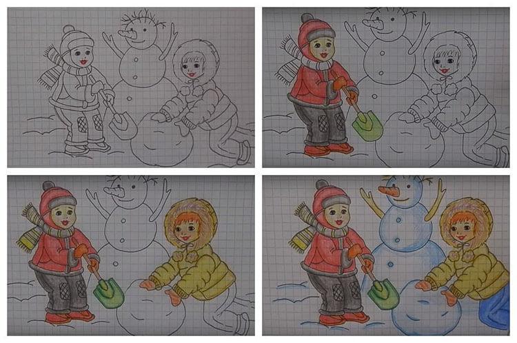 Рисунки на тему зима: что можно нарисовать красками и карандашом risunki na temu zima detskie 111