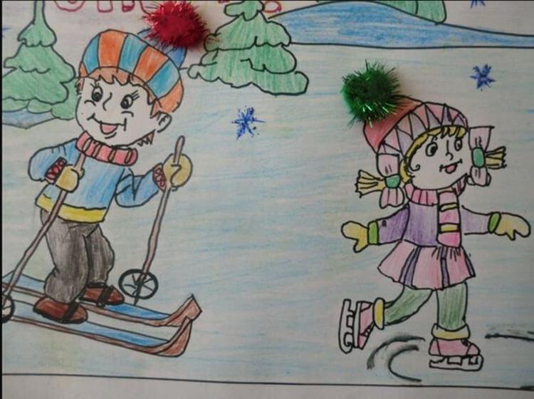 Рисунки на тему зима: что можно нарисовать красками и карандашом risunki na temu zima detskie 112