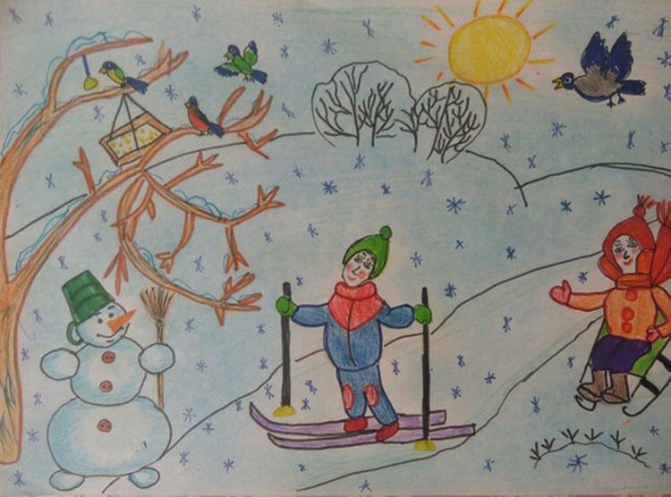Рисунки на тему зима: что можно нарисовать красками и карандашом risunki na temu zima detskie 113