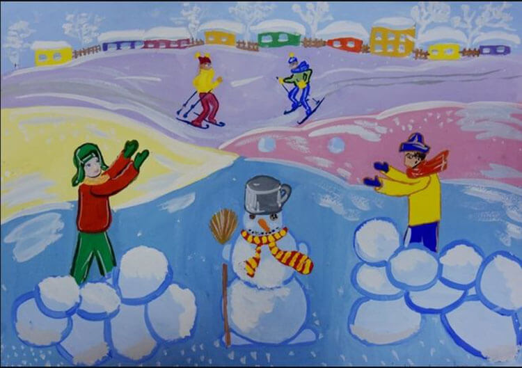 Рисунки на тему зима: что можно нарисовать красками и карандашом risunki na temu zima detskie 114