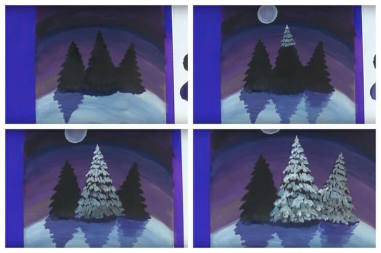 Рисунки на тему зима: что можно нарисовать красками и карандашом risunki na temu zima detskie 117