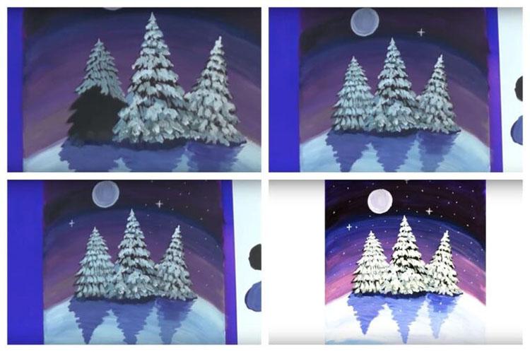 Рисунки на тему зима: что можно нарисовать красками и карандашом risunki na temu zima detskie 118