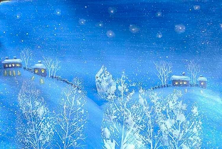 Рисунки на тему зима: что можно нарисовать красками и карандашом risunki na temu zima detskie 12