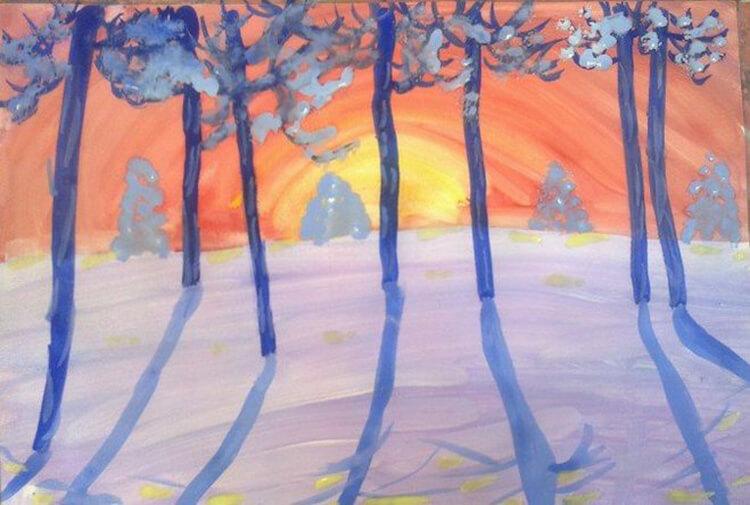 Рисунки на тему зима: что можно нарисовать красками и карандашом