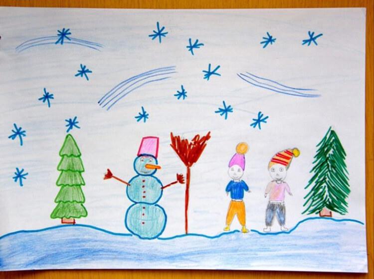 Рисунки на тему зима: что можно нарисовать красками и карандашом risunki na temu zima detskie 2