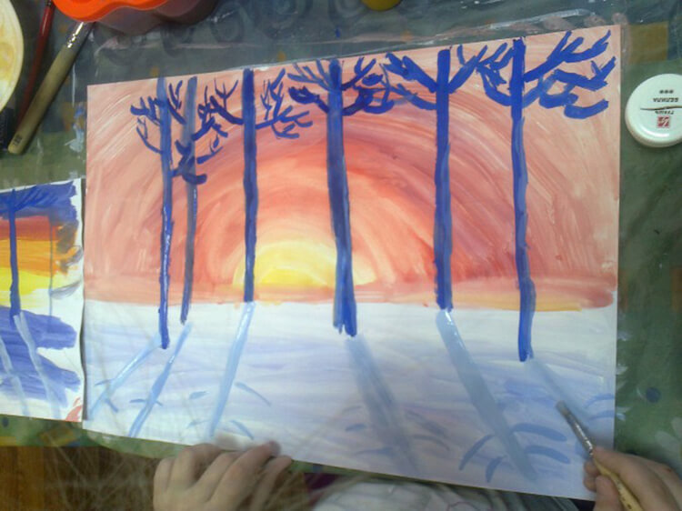 Рисунки на тему зима: что можно нарисовать красками и карандашом risunki na temu zima detskie 20
