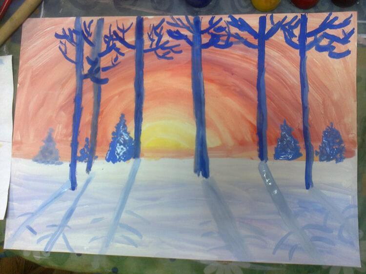 Рисунки на тему зима: что можно нарисовать красками и карандашом risunki na temu zima detskie 21