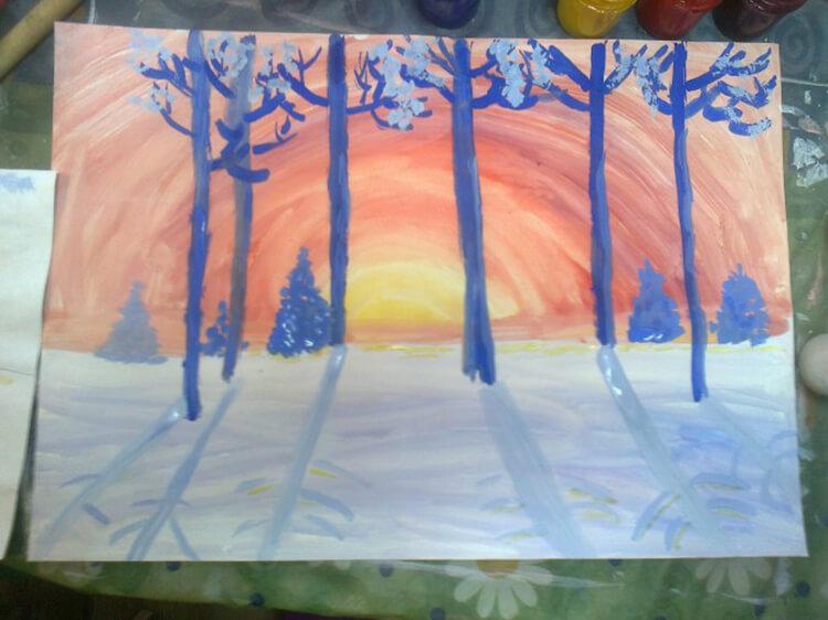 Рисунки на тему зима: что можно нарисовать красками и карандашом risunki na temu zima detskie 22