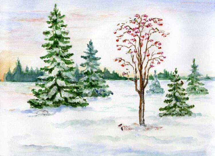 Рисунки на тему зима: что можно нарисовать красками и карандашом risunki na temu zima detskie 23
