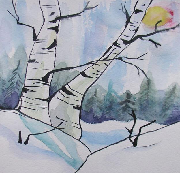 Рисунки на тему зима: что можно нарисовать красками и карандашом risunki na temu zima detskie 24
