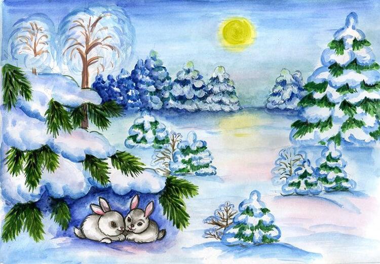 Рисунки на тему зима: что можно нарисовать красками и карандашом risunki na temu zima detskie 25