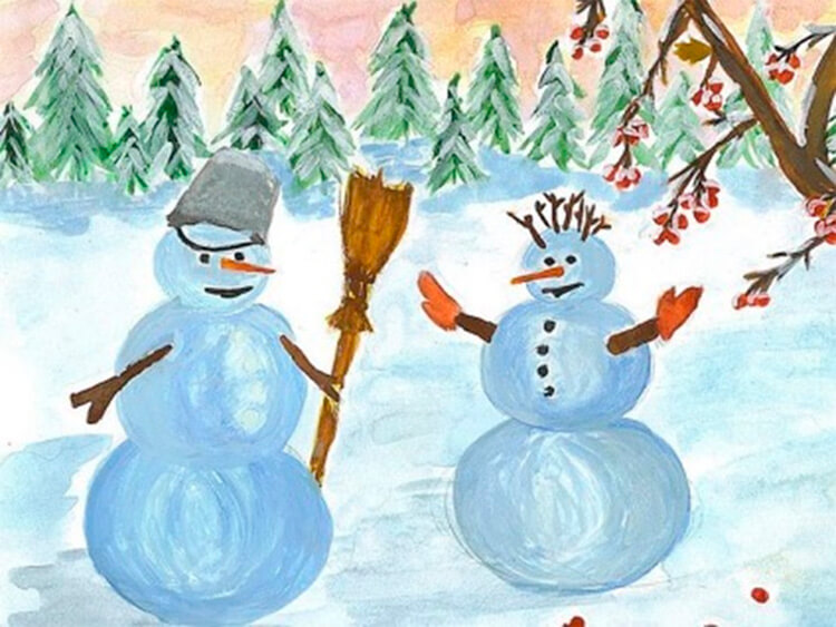 Рисунки на тему зима: что можно нарисовать красками и карандашом risunki na temu zima detskie 26