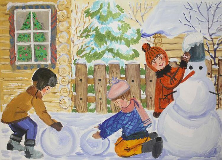 Рисунки на тему зима: что можно нарисовать красками и карандашом risunki na temu zima detskie 27