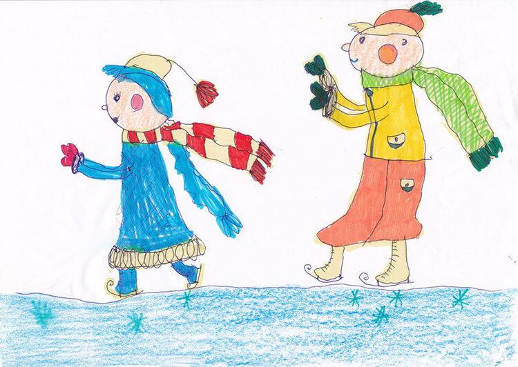 Рисунки на тему зима: что можно нарисовать красками и карандашом risunki na temu zima detskie 28