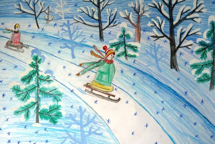 Детские рисунки про зиму картинки