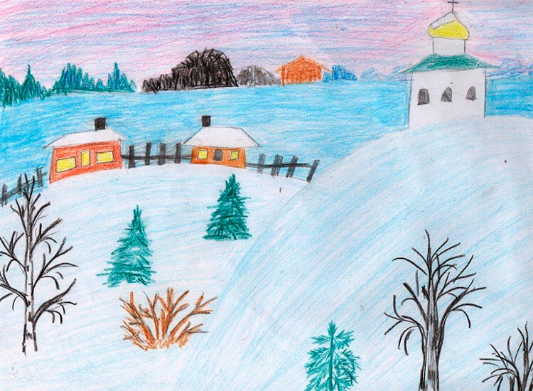 Рисунки на тему зима: что можно нарисовать красками и карандашом risunki na temu zima detskie 3