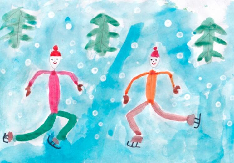 Рисунки на тему зима: что можно нарисовать красками и карандашом risunki na temu zima detskie 33