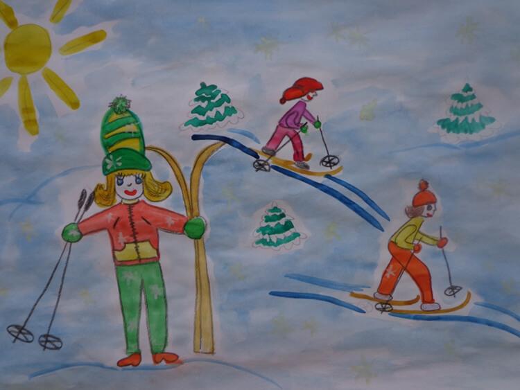 рисунок зимний вид спорта для сада как только волосок