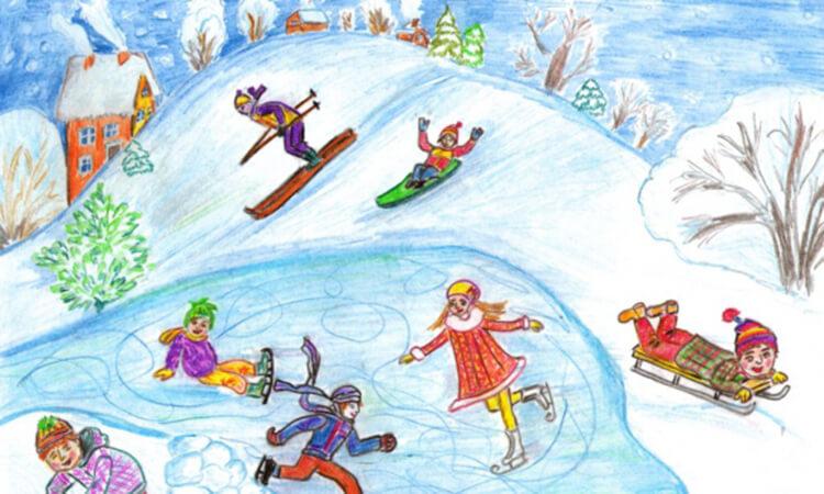 Рисунки на тему зима: что можно нарисовать красками и карандашом risunki na temu zima detskie 37