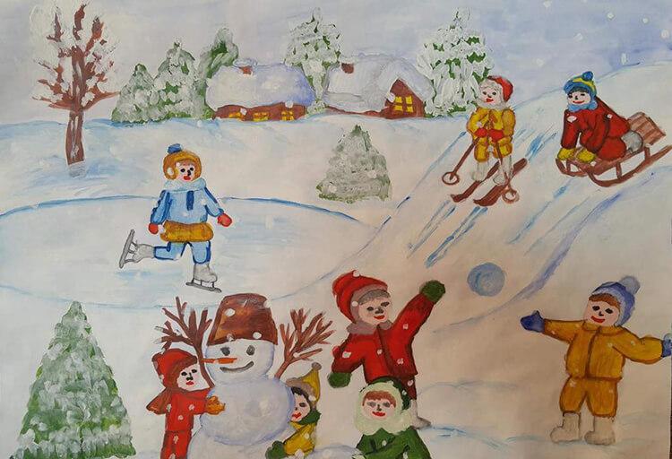 Рисунки на тему зима: что можно нарисовать красками и карандашом risunki na temu zima detskie 38