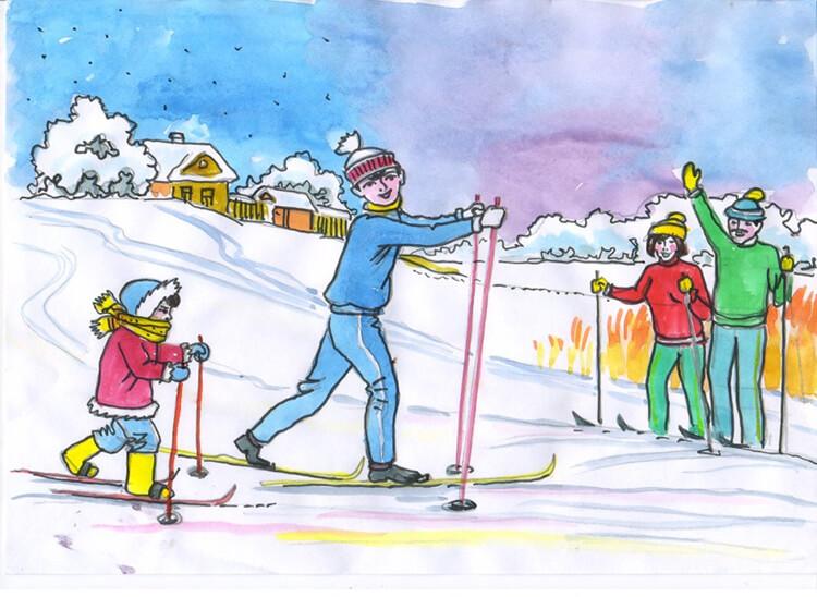 Рисунки на тему зима: что можно нарисовать красками и карандашом risunki na temu zima detskie 39