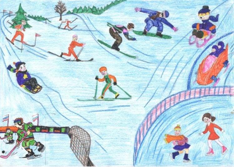 Рисунки на тему зима: что можно нарисовать красками и карандашом risunki na temu zima detskie 40