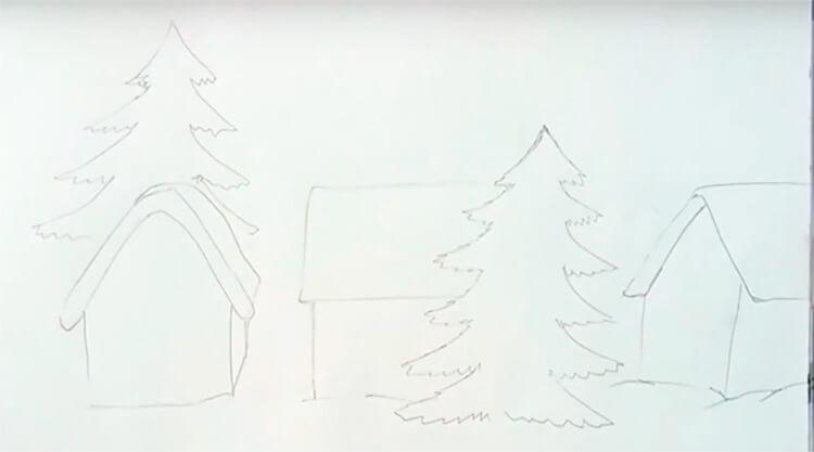 Рисунки на тему зима: что можно нарисовать красками и карандашом risunki na temu zima detskie 42 1