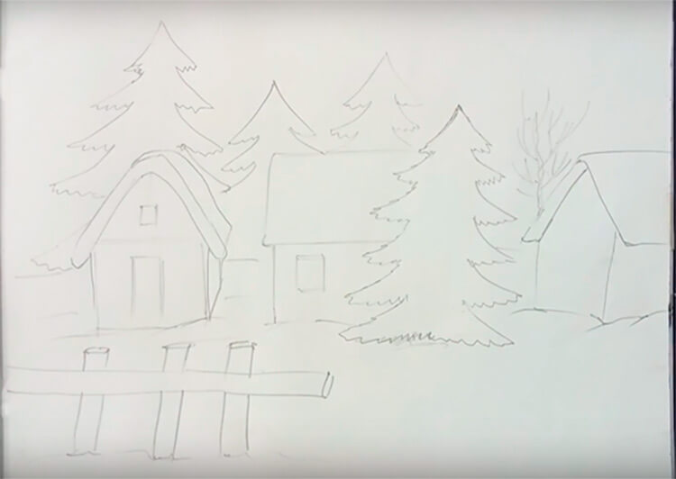 Рисунки на тему зима: что можно нарисовать красками и карандашом risunki na temu zima detskie 42 3