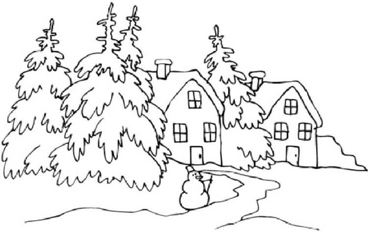 Рисунки на тему зима: что можно нарисовать красками и карандашом risunki na temu zima detskie 43