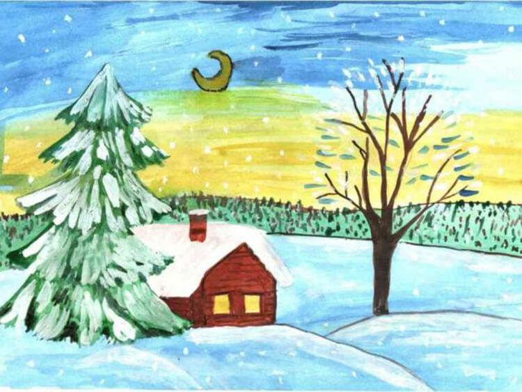 Рисунки на тему зима: что можно нарисовать красками и карандашом risunki na temu zima detskie 52