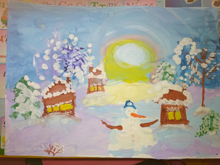 Рисунки на тему зима: что можно нарисовать красками и карандашом risunki na temu zima detskie 53