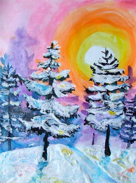 Рисунки на тему зима: что можно нарисовать красками и карандашом risunki na temu zima detskie 54