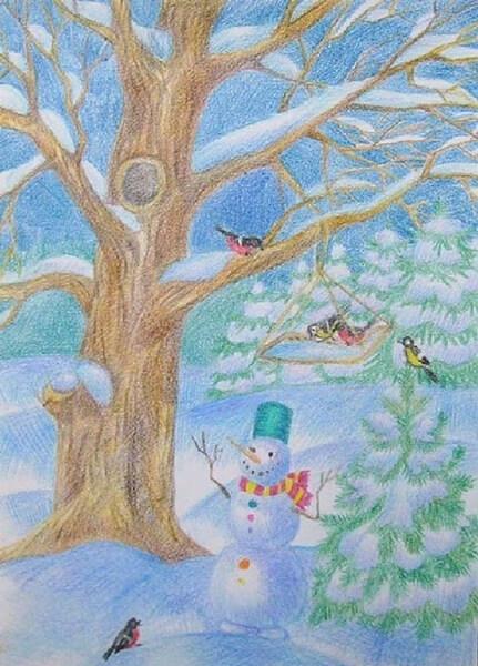 Рисунки на тему зима: что можно нарисовать красками и карандашом risunki na temu zima detskie 55